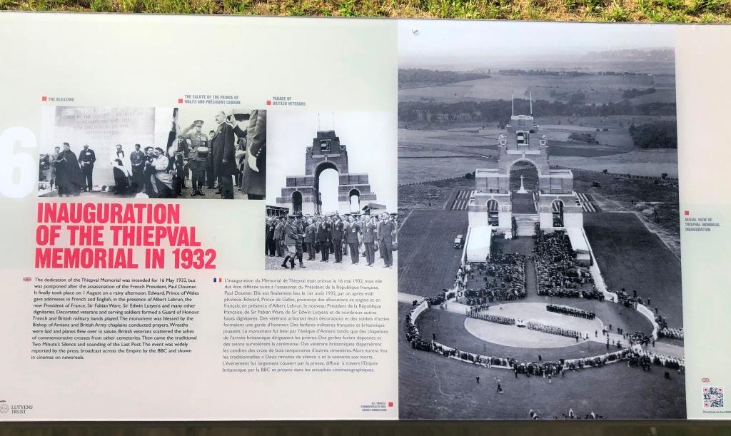 Thiepval Information panel - 1932 Inauguration.
